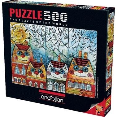Anatolian  Puzzle 500 Parça Kedi Evler 3590 Renkli